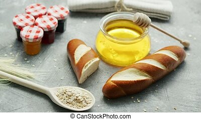 Arrangement bread and sweet honey - Composition of fresh...