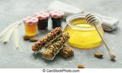 arrangement, céréale, miel, barres