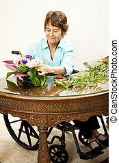 arrangement, fauteuil roulant, fleurs