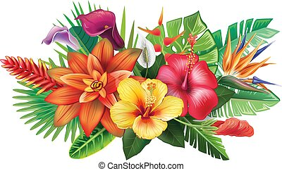 Arrangement from tropical flowers and leaves
