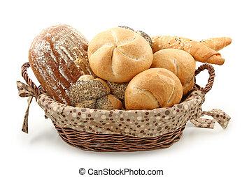 Arrangement of bread in basket
