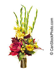 Arrangement of flowers, vegetables and fruits isolated on white background. Closeup.