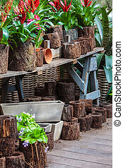 Arrangement of garden plants and tools in a greenhouse