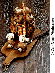 Portabello Mushroom - Arrangement of Gourmet Raw Portabello...