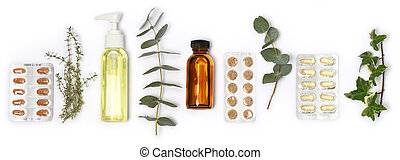arrangement of health care products and plants on white background