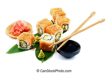Maki Sushi - Arrangement of Maki Sushi with Salmon, Crab, ...