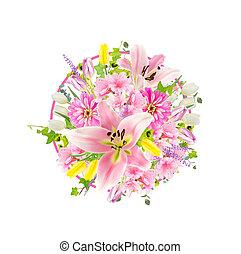 Arrangement of pink flowers