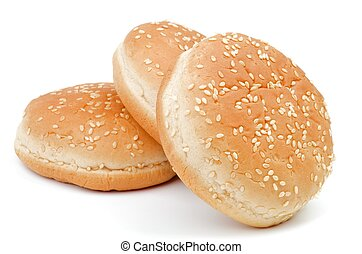Arrangement of Three Burger Sesame Seed Buns isolated on white background
