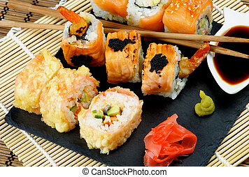 Various Maki Sushi - Arrangement of Various Maki Sushi with ...