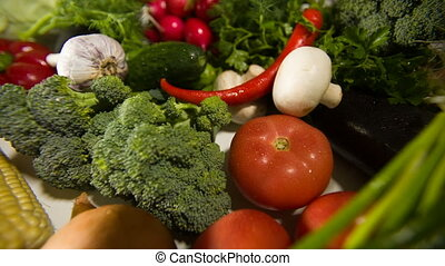 Arrangement of Vegetables - Different raw vegetables on a...