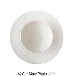 Arrangement of white ceramic dishes
