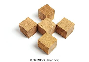 Arrangement of Wooden Blocks on White Background