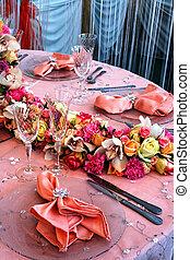 arrangement, pour, les, mariage, dîner
