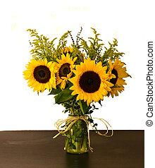 arrangement, tournesols, coloré, vase