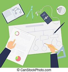 arrangements, concept, démarrage, ou, mains, sommet, planning., vecteur, affaires illustration, dessin, agile, project., plan financier, vue