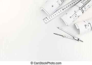 arrangements, plans, règle, métal, rouleaux, architectural, fond, compas, blanc, dessin