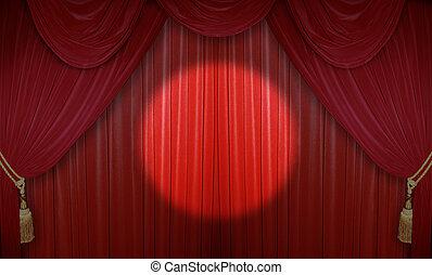 arrangera, in, den, teater