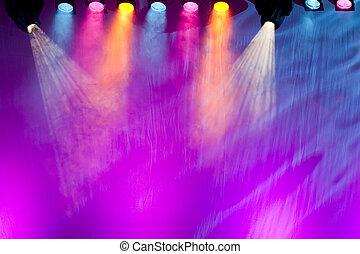 arrangera, levande, spotlights