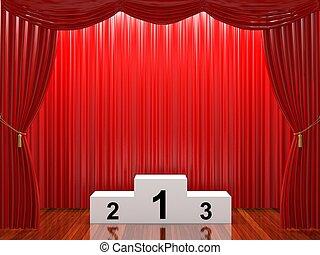 arrangera, med, röd ridå, och, podium