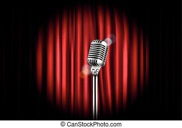 arrangera, ridåer, med, lysande, mikrofon, vektor,...