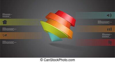 arrangiert, schief, infographic, abbildung, schablone, pentagon, runder , 3d