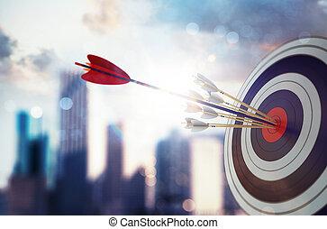 arranha-céu, concept., alvo, negócio, experiência., fazendo, golpe, seta, centro, realização, modernos, 3d