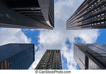 arranha-céus, chicago, cima, olhar, poucos, impressionante