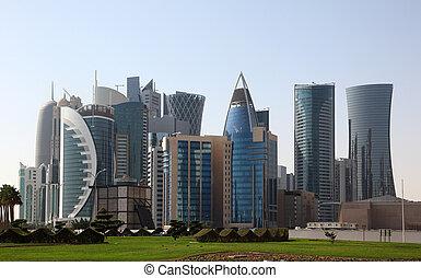 arranha-céus, doha, centro cidade, oriente médio, qatar