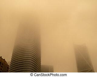 arranha-céus, wildfires, algum, ar, escondido, fazer, smog, perto, qualidade, baixo