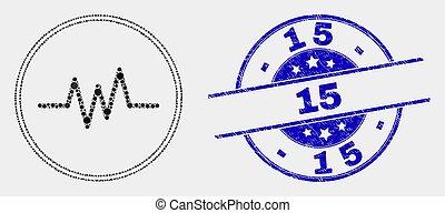 arranhado, 15, pontilhado, sinal, pulso, vetorial, selo, ícone