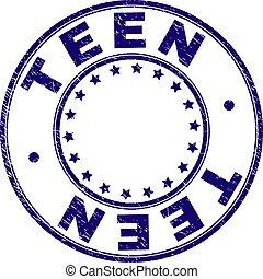 arranhado, adolescente, selo, selo, textured, redondo