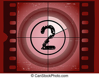 arranhado, antigas, -, contagem regressiva, 2, película,...