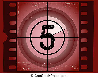 arranhado, antigas, -, contagem regressiva, 5, película,...