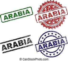 arranhado, arábia, textured, selo, selos