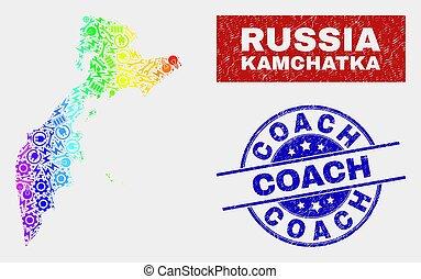 arranhado, arco íris, industrial, colorido, mapa, selo, selos, treinador, kamchatka
