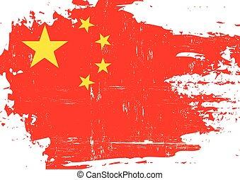 arranhado, bandeira, Chinês