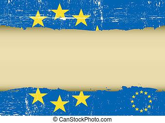 arranhado, bandeira, europeu