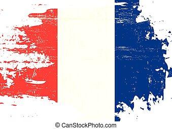 arranhado, bandeira, francês