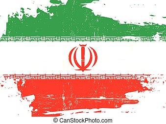arranhado, bandeira, irã