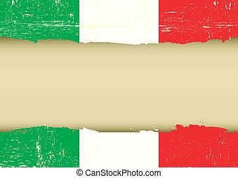 arranhado, bandeira, italiano