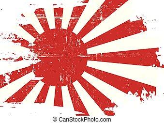 arranhado, bandeira japão, guerra