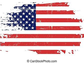 arranhado, bandeira, nós