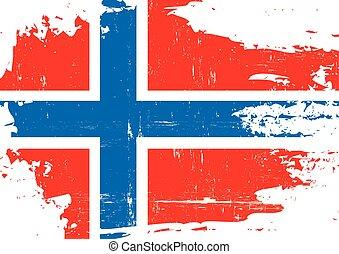 arranhado, bandeira, noruega