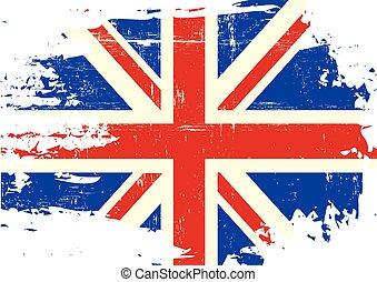 arranhado, bandeira, reino unido