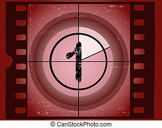 arranhado, contagem regressiva, antigas, -, 1, película,...