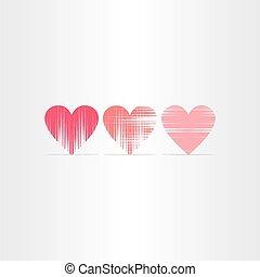 arranhado, corações, jogo, ícones