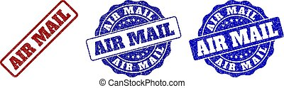 arranhado, correio, ar, selo, selos