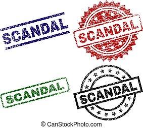 arranhado, escândalo, textured, selo, selos