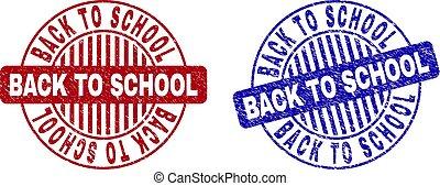 arranhado, escola, grunge, selo, costas, selos, redondo