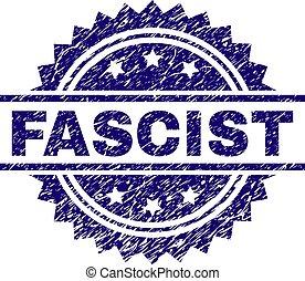 arranhado, fascista, textured, selo, selo